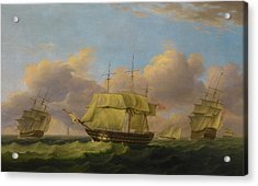Shipping Off The Eddystone Acrylic Print by Thomas Luny