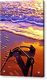Ships Anchor On Beach Acrylic Print by Garry Gay