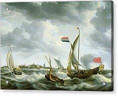 Ships At Sea  Acrylic Print by Bonaventura Peeters