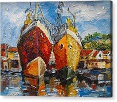 Ships In Repair Acrylic Print by Min Wang