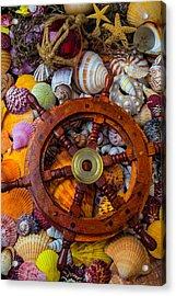 Ships Wheel Among Seashells Acrylic Print by Garry Gay