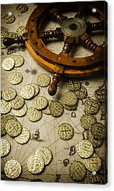 Ships Wheel And Gold Coins Acrylic Print by Garry Gay