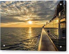Shipside Sunset Acrylic Print by Bill Tiepelman