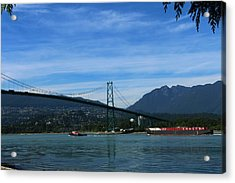 Shiptraffic  Under Lions Gate Bridge Acrylic Print