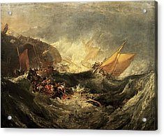 Acrylic Print featuring the painting Shipwreck Of The Minotaur by J M William Turner