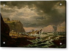 Shipwreck On The Coast Of Norway Acrylic Print by Johan Christian Dahl