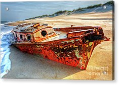 Shipwrecked Boat On Outer Banks Front Side View Acrylic Print by Dan Carmichael