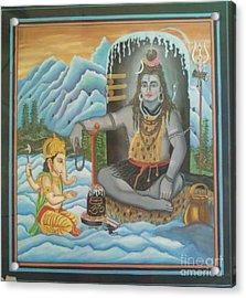 Shiv Ji Nd Ganesh Ji Acrylic Print by Ravi Kumar