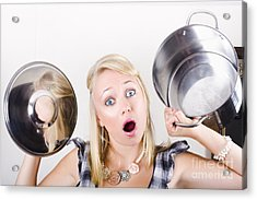 Shocked Caucasian Woman Holding Empty Cooking Pot Acrylic Print by Jorgo Photography - Wall Art Gallery
