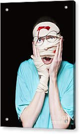 Shocked Patient Nursing A Broken And Bloody Head Acrylic Print by Jorgo Photography - Wall Art Gallery
