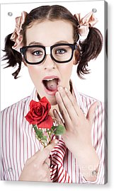 Shocked Romantic Nerdy Girl Holding Red Rose Acrylic Print