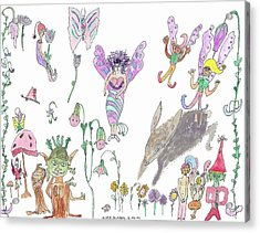 Shoe Tree Rabbit And Fairies Acrylic Print