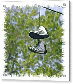 Acrylic Print featuring the digital art Shoefiti 23625 by Brian Gryphon