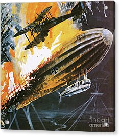 Shooting Down A Zeppelin During The First World War Acrylic Print by Wilf Hardy