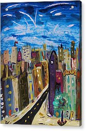 Shooting Stars Over Old City Acrylic Print by Mary Carol Williams