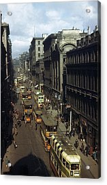 Shoppers And Trams Clog Renfield Street Acrylic Print by B. Anthony Stewart