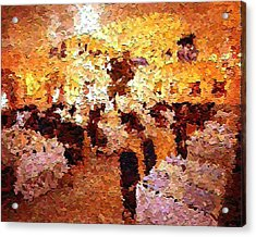 Shoppers In The Gallery Acrylic Print by Don Phillips