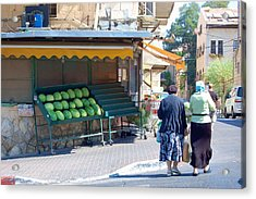 Shopping For Shabbat In Jerusalem Acrylic Print by Susan Heller