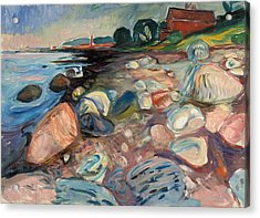 Shore With Red House Acrylic Print by Edvard Munch