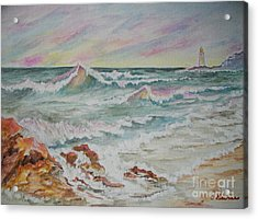 Acrylic Print featuring the painting Shoreline Breakers by Carol Grimes