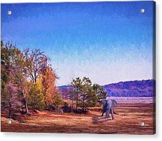 Acrylic Print featuring the digital art Shoreline Elephant by Barry Jones