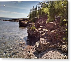 Shoreline In The Upper Michigan Acrylic Print by Alan Casadei