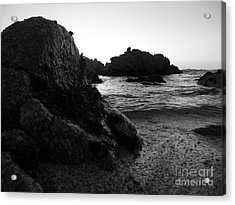 Shoreline Monolith Monochrome Acrylic Print by James B Toy