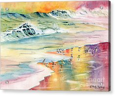 Shoreline Watercolor Acrylic Print by Melly Terpening