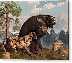Short-faced Bear And Saber-toothed Cat Acrylic Print