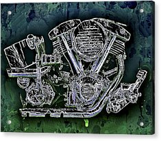 Acrylic Print featuring the mixed media Harley - Davidson Shovelhead Engine by Al Matra