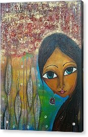 Acrylic Print featuring the mixed media Shower Of Roses by Prerna Poojara