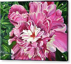 Acrylic Print featuring the painting Showy Pink Peony by Lee Nixon
