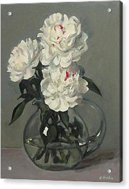 Showy White Peonies In Glass Pitcher Acrylic Print