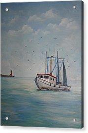 Shrimp Boat Acrylic Print by Carolyn Speer