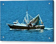 Shrimp Boat In The Gulf Acrylic Print by Bill Perry