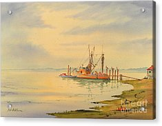 Acrylic Print featuring the painting Shrimp Boat Sunset by Bill Holkham