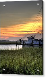 Shrimp Boat Sunset Acrylic Print by Dustin K Ryan