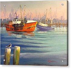 Shrimp Boats Acrylic Print by Marilyn Jacobson