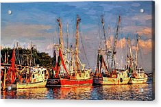 Shrimp Boats Shem Creek In Mt. Pleasant  South Carolina Sunset Acrylic Print