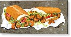 Shrimp On French Dressed Acrylic Print by Elaine Hodges