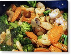 Acrylic Print featuring the photograph Shrimp Stir Fry #1 by Ben Upham III