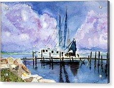 Shrimpboat Acrylic Print by Carol Sprovtsoff