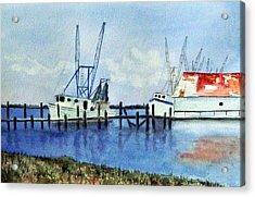 Shrimpboats At Dock Acrylic Print by Carol Sprovtsoff