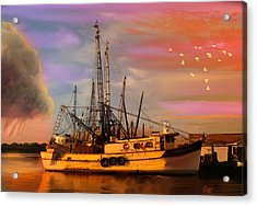 Shrimpers At Dock Acrylic Print by J Griff Griffin