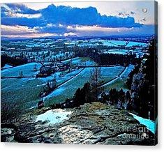 Shropshire Winter Sunset Scene Acrylic Print by Chris Smith
