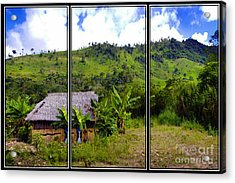 Acrylic Print featuring the photograph Shuar Hut In The Amazon by Al Bourassa