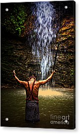 Acrylic Print featuring the photograph Shuar Shaman At Sucua Ecuador by Al Bourassa