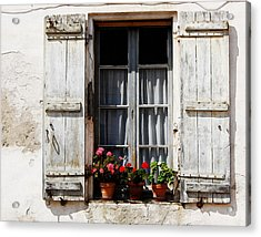 Shutters And Geraniums Acrylic Print by Marion McCristall