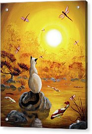 Siamese Cat With Dancing Dragonflies Acrylic Print