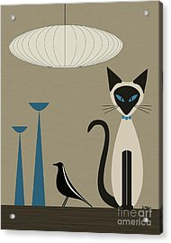 Siamese Cat With Eames House Bird Acrylic Print